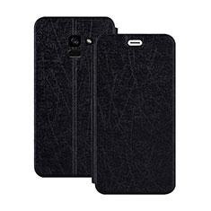Schutzhülle Stand Tasche Leder für Samsung Galaxy A5 (2018) A530F Schwarz