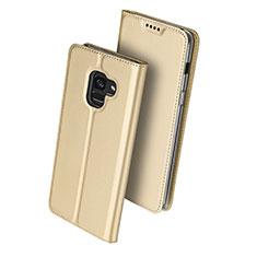 Schutzhülle Stand Tasche Leder für Samsung Galaxy A8 (2018) Duos A530F Gold