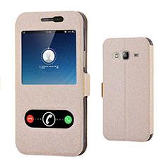 Schutzhülle Stand Tasche Leder für Samsung Galaxy Amp Prime J320P J320M Gold