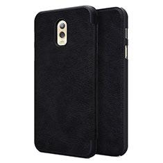 Schutzhülle Stand Tasche Leder für Samsung Galaxy J7 Plus Schwarz