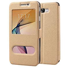 Schutzhülle Stand Tasche Leder für Samsung Galaxy J7 Prime Gold