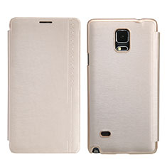 Schutzhülle Stand Tasche Leder für Samsung Galaxy Note 4 Duos N9100 Dual SIM Gold