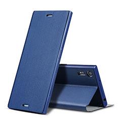 Schutzhülle Stand Tasche Leder für Sony Xperia XZ Blau