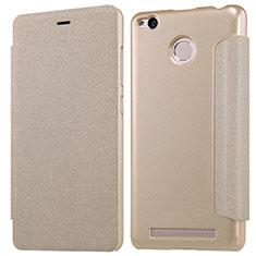 Schutzhülle Stand Tasche Leder für Xiaomi Redmi 3X Gold