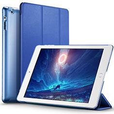 Schutzhülle Stand Tasche Leder L01 für Apple iPad 4 Blau