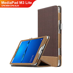 Schutzhülle Stand Tasche Leder L01 für Huawei MediaPad M3 Lite 8.0 CPN-W09 CPN-AL00 Braun