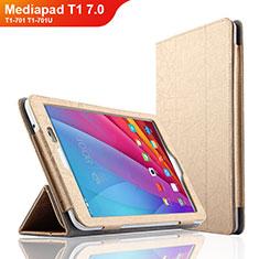 Schutzhülle Stand Tasche Leder L01 für Huawei Mediapad T1 7.0 T1-701 T1-701U Gold