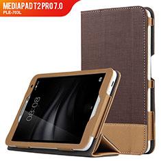 Schutzhülle Stand Tasche Leder L01 für Huawei MediaPad T2 Pro 7.0 PLE-703L Braun