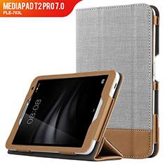 Schutzhülle Stand Tasche Leder L01 für Huawei MediaPad T2 Pro 7.0 PLE-703L Grau