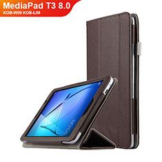 Schutzhülle Stand Tasche Leder L01 für Huawei MediaPad T3 8.0 KOB-W09 KOB-L09 Braun