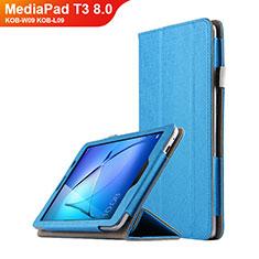 Schutzhülle Stand Tasche Leder L01 für Huawei MediaPad T3 8.0 KOB-W09 KOB-L09 Hellblau