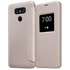 Schutzhülle Stand Tasche Leder L01 für LG G6 Gold