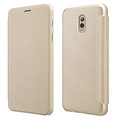Schutzhülle Stand Tasche Leder L01 für Samsung Galaxy C7 (2017) Gold