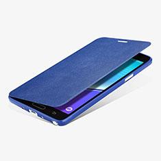 Schutzhülle Stand Tasche Leder L01 für Samsung Galaxy Note 4 SM-N910F Blau