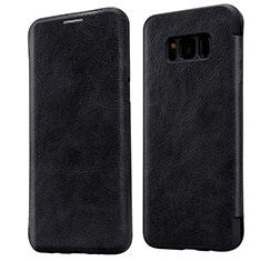 Schutzhülle Stand Tasche Leder L01 für Samsung Galaxy S8 Plus Schwarz