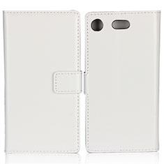Schutzhülle Stand Tasche Leder L01 für Sony Xperia XZ1 Compact Weiß