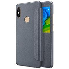 Schutzhülle Stand Tasche Leder L01 für Xiaomi Redmi Note 5 AI Dual Camera Grau