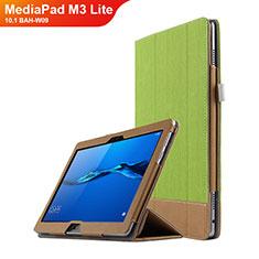 Schutzhülle Stand Tasche Leder L02 für Huawei MediaPad M3 Lite 10.1 BAH-W09 Grün