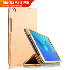 Schutzhülle Stand Tasche Leder L02 für Huawei MediaPad M5 8.4 SHT-AL09 SHT-W09 Gold