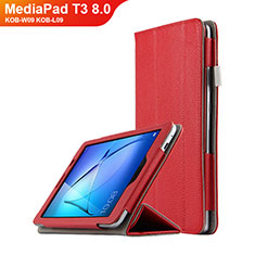 Schutzhülle Stand Tasche Leder L02 für Huawei MediaPad T3 8.0 KOB-W09 KOB-L09 Rot
