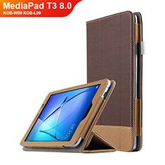 Schutzhülle Stand Tasche Leder L03 für Huawei MediaPad T3 8.0 KOB-W09 KOB-L09 Braun