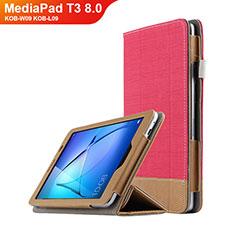 Schutzhülle Stand Tasche Leder L03 für Huawei MediaPad T3 8.0 KOB-W09 KOB-L09 Rot