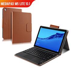 Schutzhülle Stand Tasche Leder mit Tastatur für Huawei MediaPad M5 Lite 10.1 Braun