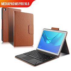 Schutzhülle Stand Tasche Leder mit Tastatur für Huawei MediaPad M5 Pro 10.8 Braun