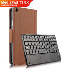 Schutzhülle Stand Tasche Leder mit Tastatur für Huawei MediaPad T3 8.0 KOB-W09 KOB-L09 Braun