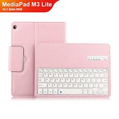 Schutzhülle Stand Tasche Leder mit Tastatur L01 für Huawei MediaPad M3 Lite 10.1 BAH-W09 Rosa