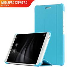 Schutzhülle Stand Tasche Leder R01 für Huawei MediaPad T2 Pro 7.0 PLE-703L Hellblau