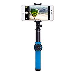 Selfie Stick Stange Stativ Bluetooth Teleskop Universal T21 für Samsung Galaxy S21 Plus 5G Blau
