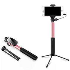 Selfie Stick Stange Verdrahtet Teleskop Universal T35 für Sony Xperia 1 Rosa