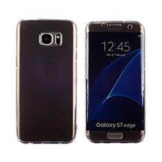 Silikon Hülle Flip Schutzhülle Durchsichtig Transparent Tasche für Samsung Galaxy S7 Edge G935F Grau