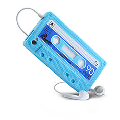 Silikon Hülle Gummi Schutzhülle Cassette für Apple iPhone 4 Hellblau