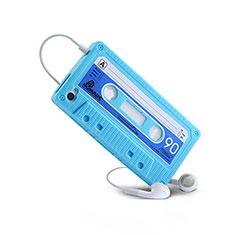 Silikon Hülle Gummi Schutzhülle Cassette für Apple iPhone 4S Hellblau