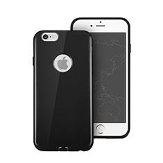 Silikon Hülle Gummi Schutzhülle Loch für Apple iPhone 6 Plus Schwarz