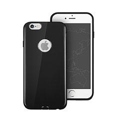 Silikon Hülle Gummi Schutzhülle Loch für Apple iPhone 6S Plus Schwarz
