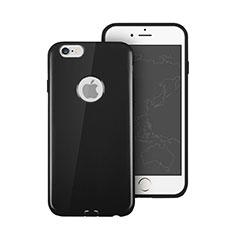 Silikon Hülle Gummi Schutzhülle Loch für Apple iPhone 6S Schwarz