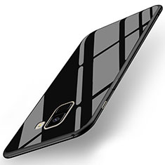 Silikon Hülle Gummi Schutzhülle Spiegel für Samsung Galaxy A8+ A8 Plus (2018) Duos A730F Schwarz