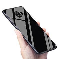 Silikon Hülle Gummi Schutzhülle Spiegel für Samsung Galaxy J2 Pro (2018) J250F Schwarz