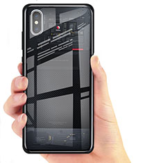 Silikon Hülle Gummi Schutzhülle Spiegel für Xiaomi Mi 8 Screen Fingerprint Edition Schwarz
