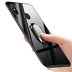 Silikon Hülle Gummi Schutzhülle Spiegel mit Fingerring Ständer für Xiaomi Mi A2 Schwarz