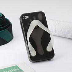 Silikon Hülle Handyhülle Flip Flops Schutzhülle Durchsichtig Transparent für Apple iPhone 4 Grau