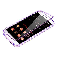 Silikon Hülle Handyhülle Flip Schutzhülle Durchsichtig Transparent für Huawei G7 Plus Violett