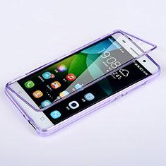 Silikon Hülle Handyhülle Flip Schutzhülle Durchsichtig Transparent für Huawei Honor 4C Violett