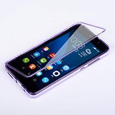 Silikon Hülle Handyhülle Flip Schutzhülle Durchsichtig Transparent für Huawei Honor 4X Violett