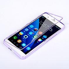 Silikon Hülle Handyhülle Flip Schutzhülle Durchsichtig Transparent für Huawei Honor 6 Plus Violett