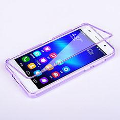 Silikon Hülle Handyhülle Flip Schutzhülle Durchsichtig Transparent für Huawei Honor 6 Violett