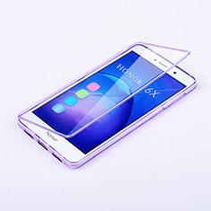 Silikon Hülle Handyhülle Flip Schutzhülle Durchsichtig Transparent für Huawei Honor 6X Violett